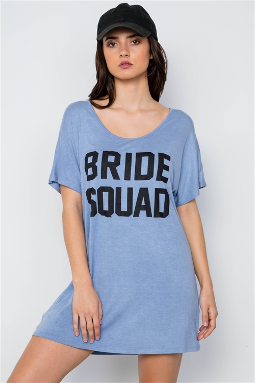 Blue Bride Squad Graphic Short Sleeve T-Shirt