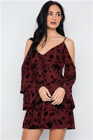 Wine Burnout Velvet Tiered Bell Sleeve Dress