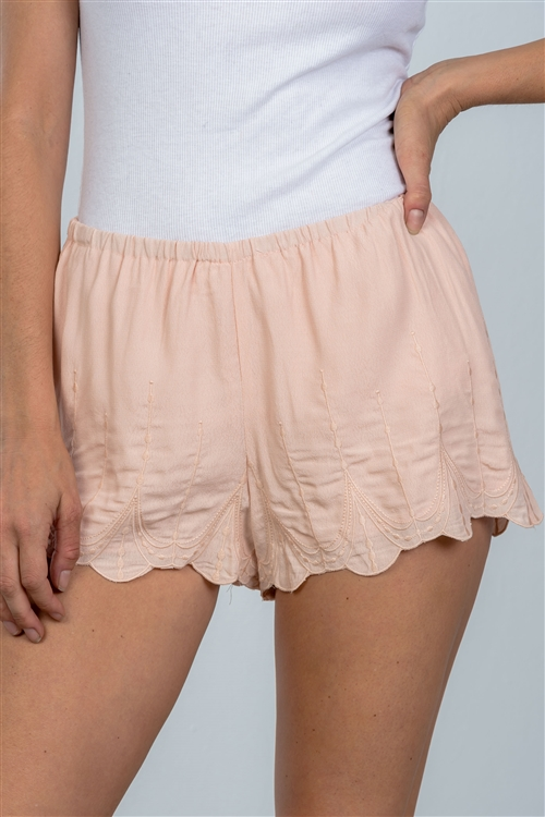 Blush Scallop Hem Elastic Waist Shorts