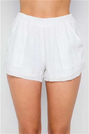 White Raw Edge Elasticized Waist High Waist Shorts