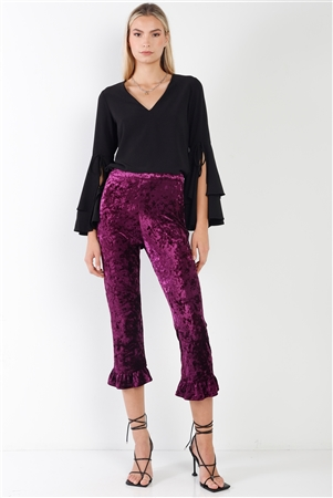 Purple Ruffle Hem Velvet Crop Pants