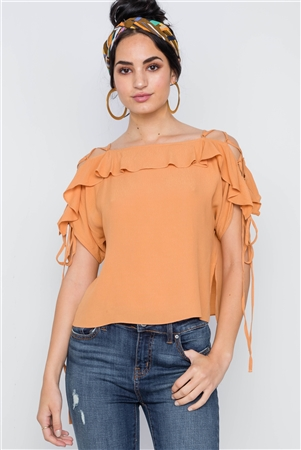 Honey Flounce Solid Lace Up Sleeves Boho Top