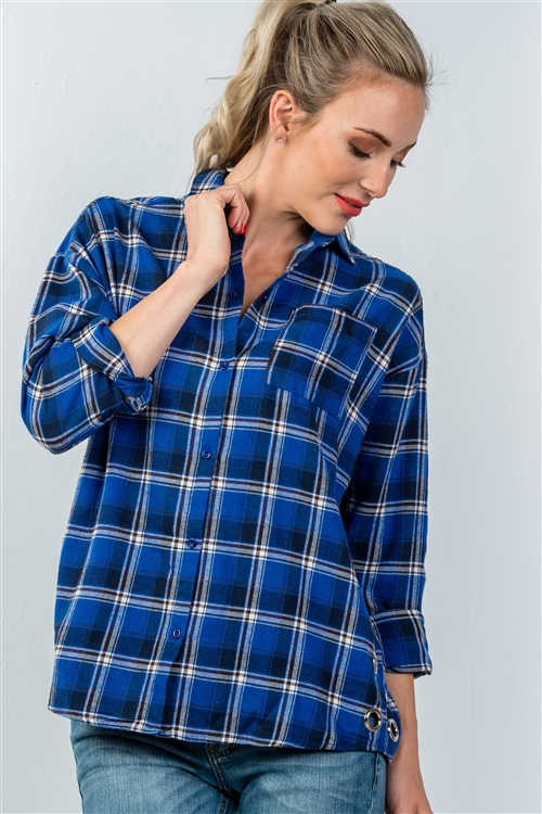 Royal Plaid Side Silver Grommet Top