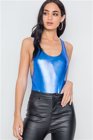 Royal Blue Metallic Open Back Bodysuit