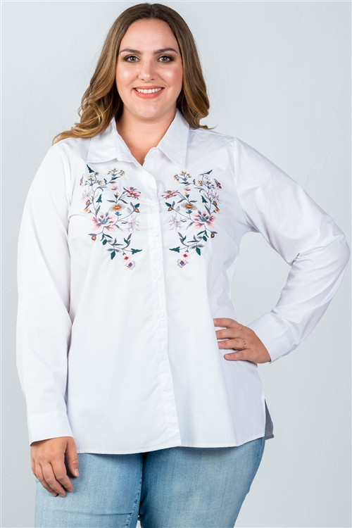 White Plus Size Floral Embroidered Button Down Shirt