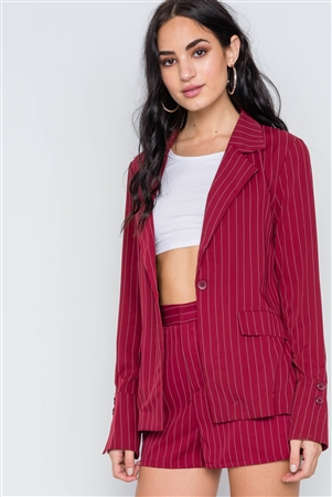 Wine Stripe Long Sleeve Front Button Blazer