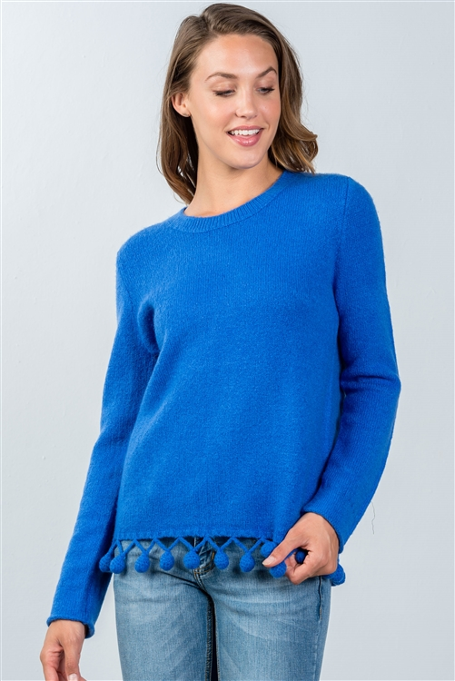 Blue Pom-Pom Hem Sweater