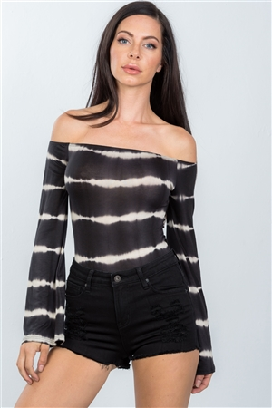 Black Off The Shoulder Tie Dye Bodysuit