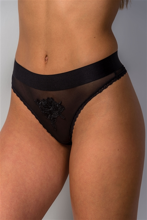 Black Underwear With Floral Embroidered /2-2-4