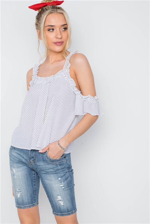 Off White Polka Dot Cold Shoulder Ruffle Top