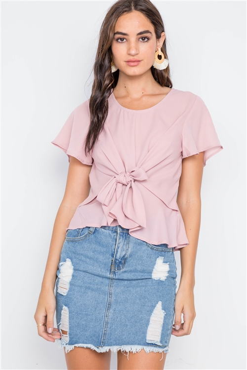 Blush Tie-Front Butterfly Sleeve Chiffon Blouse