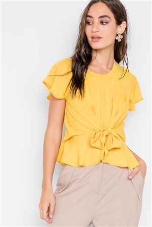 Yellow Tie-Front Butterfly Sleeve Chiffon Blouse