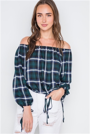 Multi Black Plaid Off-The-Shoulder Top