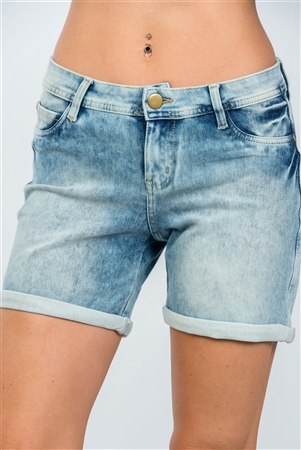 Light Blue Mid-Length Cuffed Hem Shorts