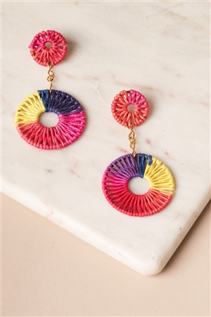 Multi-Colored Ombre Thread Weave Earrings