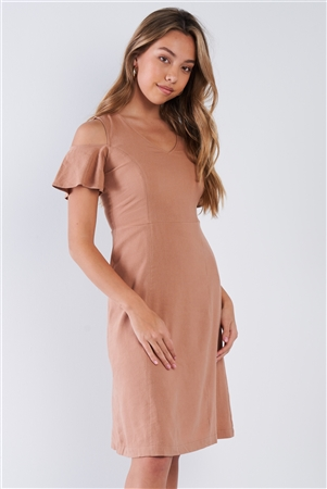 Nude V-neck Linen Cold Shoulder Sun Dress