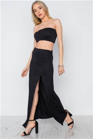 Black Solid Side Slit Mid-Rise Stretchy Maxi Skirt