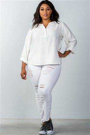Plus Size Oatmeal Stand-Up Collar Roll Tab Sleeve Blouse