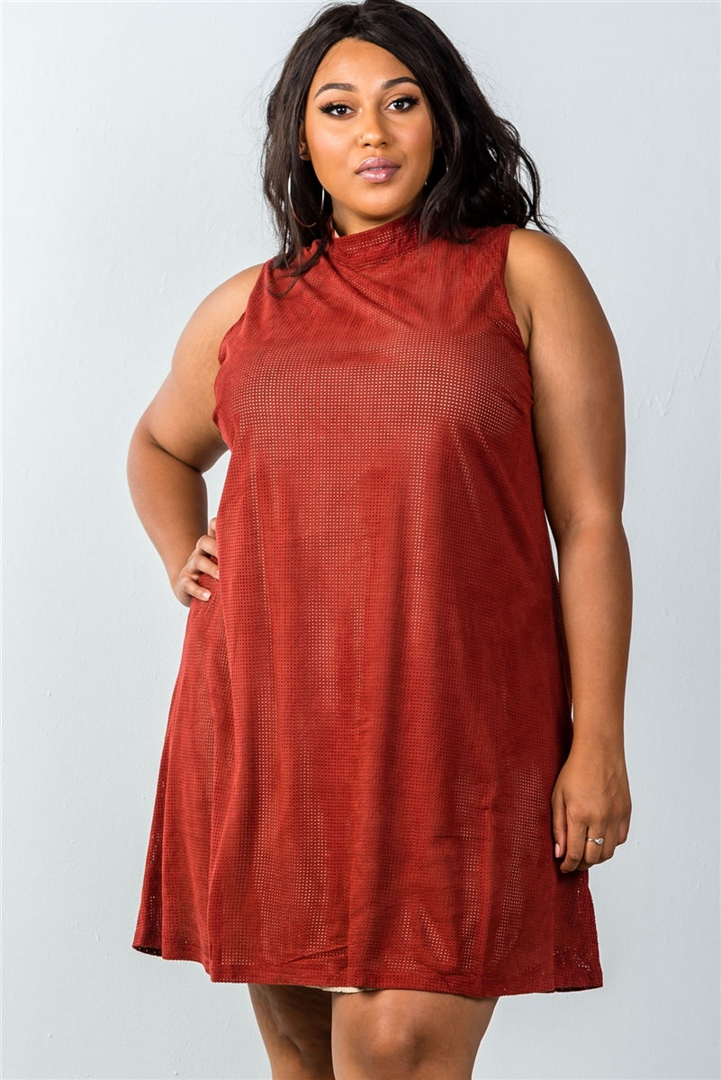 Plus Size Rust And Pearl Illusion High Neck Swing Dress