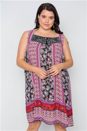 Boho Plus Size Floral Mix Print Sleeveless Dress