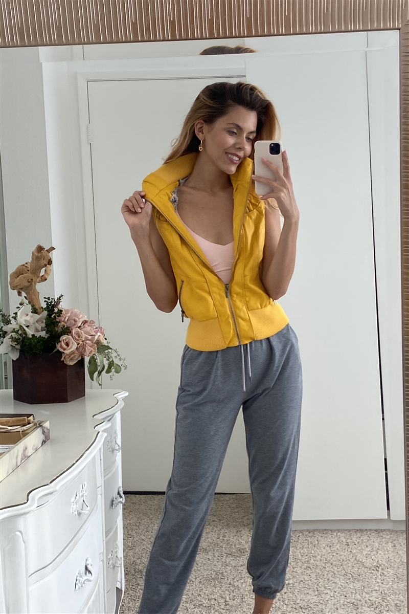Mustard Funnel Neck Faux Leather Sleeveless Vest