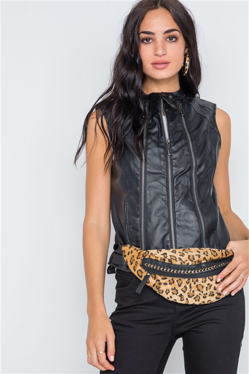 Black Faux Leather Triple Zip Moto Vest