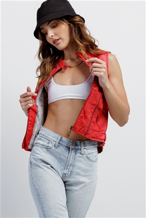 Red Faux Leather Triple Zip Moto Vest