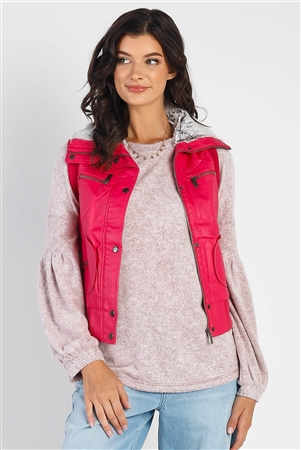 Fuchsia Funnel Neck Zip-Up Vest