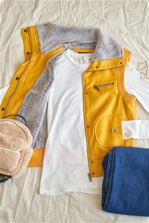 Mustard Funnel Neck Zip-Up Vest