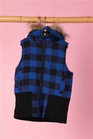 Kids Black and Blue Checkered Fur Vest
