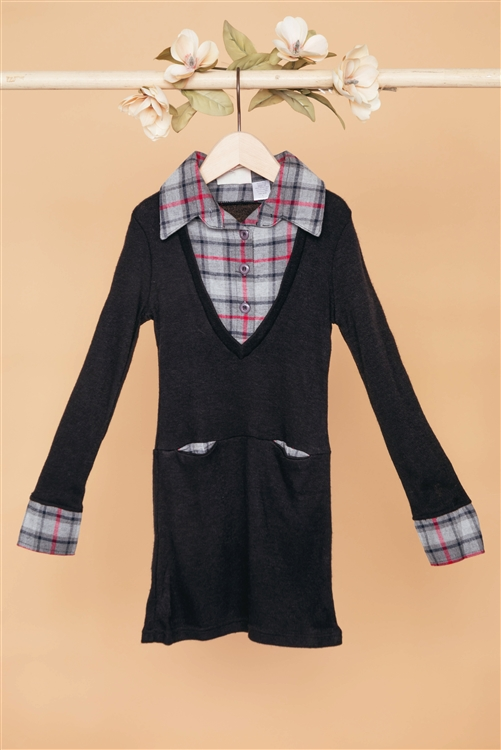 Girls Black Charcoal Combo Plaid Sweater Dress