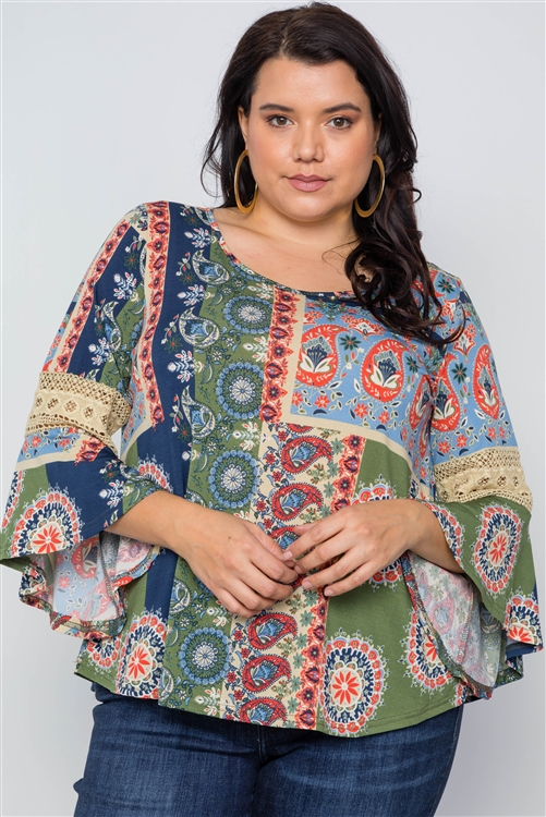 Multi color boho contemporary bell sleeve plus size Top