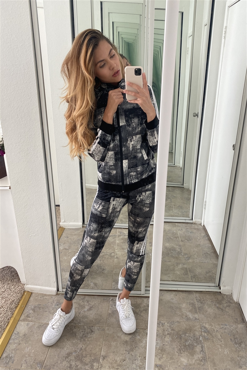 Black Mash Active Two Piece Legging Jacket Set