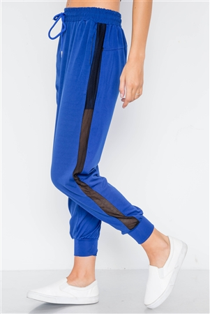 Blue Mid-Rise Mash-Paneled Sporty Joggers Pants