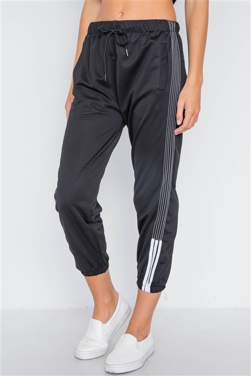 Black Mid-Rise Contrast Trim Sporty Joggers Pants