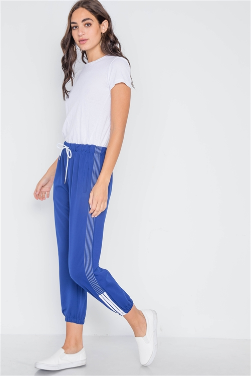 Blue Mid-Rise Contrast Trim Sporty Joggers Pants