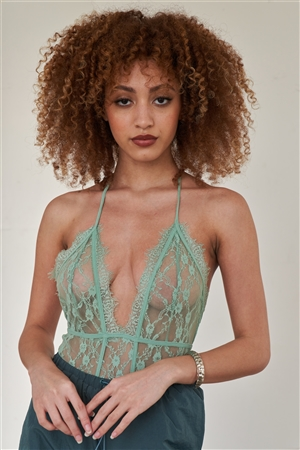 Mint Floral Lace Stretchy Halter Tie Plunge V-Neck Bodysuit