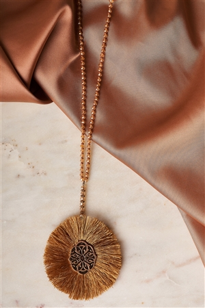 Brown Etched Tassel Pendant Necklace