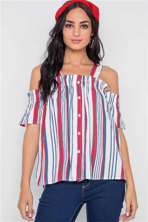 Red Navy Stripe Button Down Cold Shoulder Top