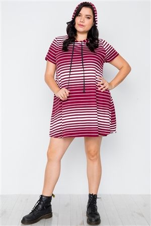 Plus Size Dark Burgundy Stripe Short Sleeve Hooded Shirt Mini Dress