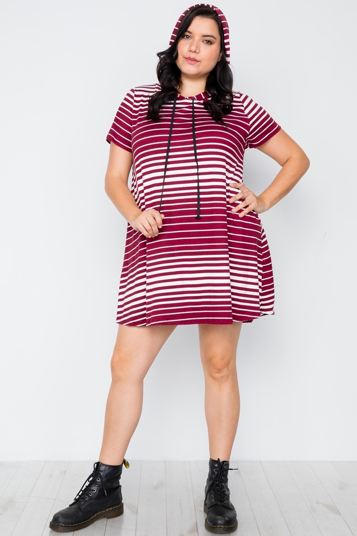 Plus Size Dark Burgundy Stripe Short Sleeve Hooded Shirt Mini Dress ...