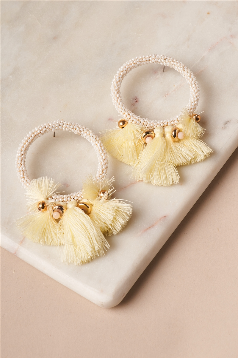 White Yellow Beaded Hoop Tassel Earrings