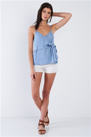 Denim Blue V-Neck Front Bow Adjustable Cami Top