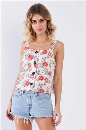 Cream Red Button Front Straight Neck Floral Tank Top