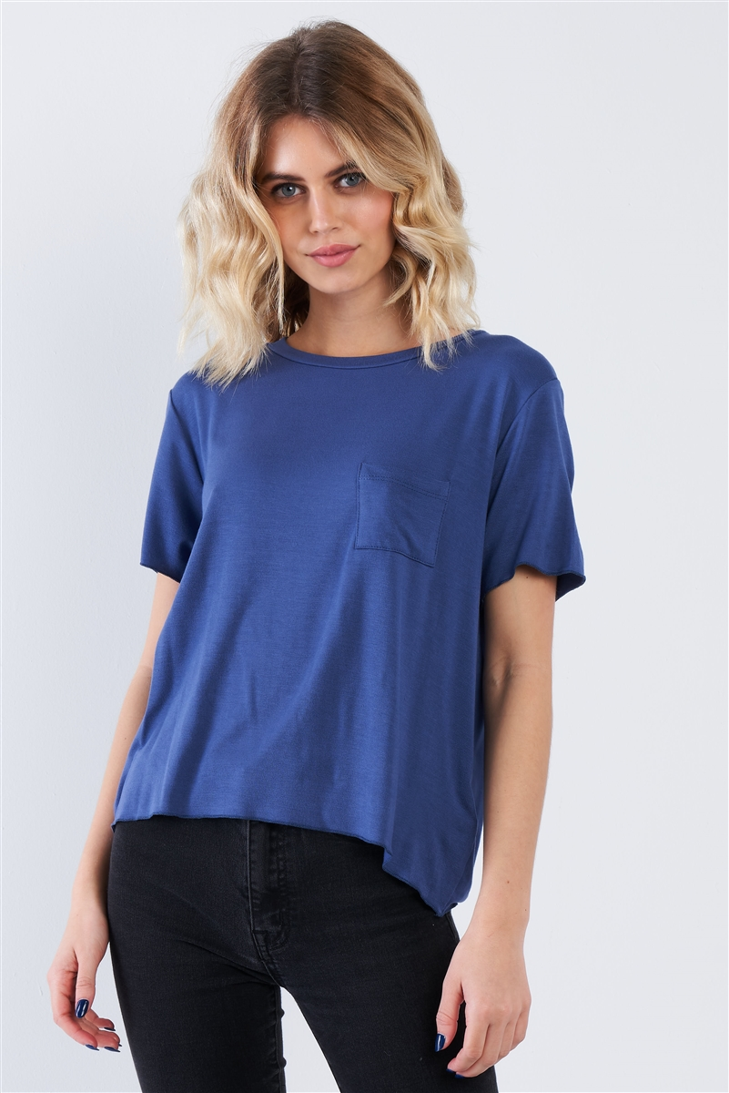 Blue Round Neck Short Sleeve Basic Tee