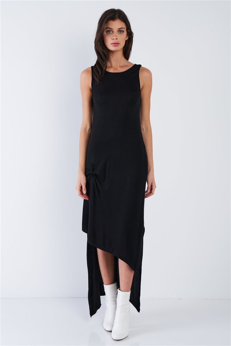 Black Ribbed Asymmetrical High-Low Maxi Dress