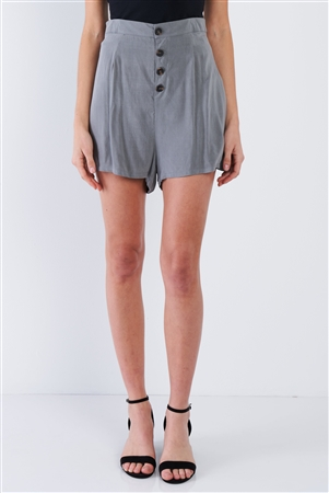 Charcoal Grey Casual Chic Mini Front Button Shorts