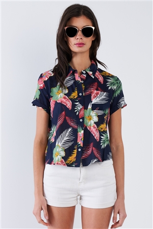 Navy Tropical Floral Print Button Down Short Sleeve Top