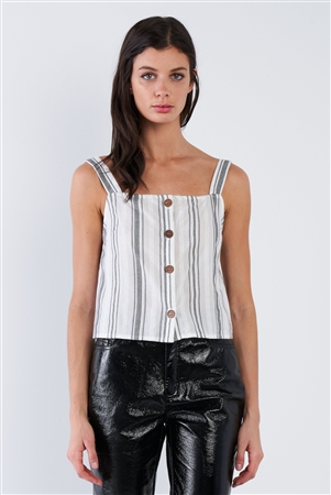 White & Black Stripe Front Button Tank Top