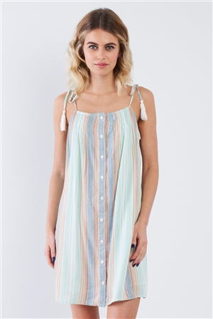 Mint Blue & Green Multi Stripe Tassel Straps Mini Festival Chic Dress